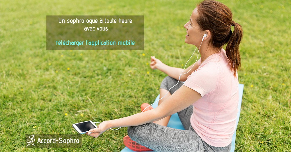 APratiquer des séances avec l'application de sophrologie n'importe ou. Un sophrologue à toute heure avec vous. télécharger l'application mobile
